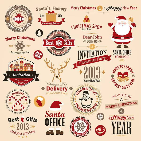 Different vintage Christmas labels elements vector set 01