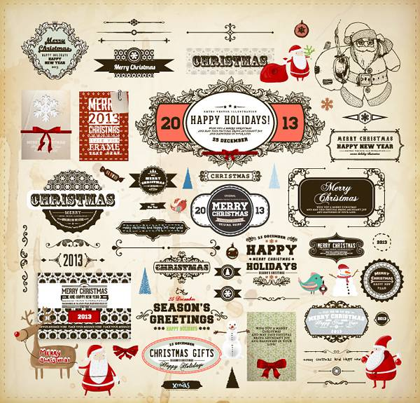 Different vintage Christmas labels elements vector set 02