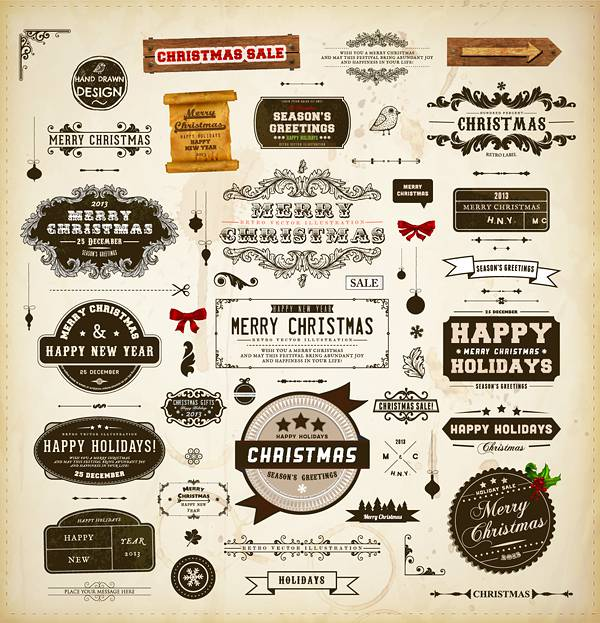 Different vintage Christmas labels elements vector set 03