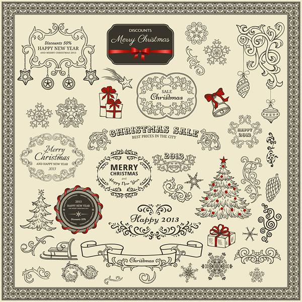 Various Christmas decor elements vector set 02