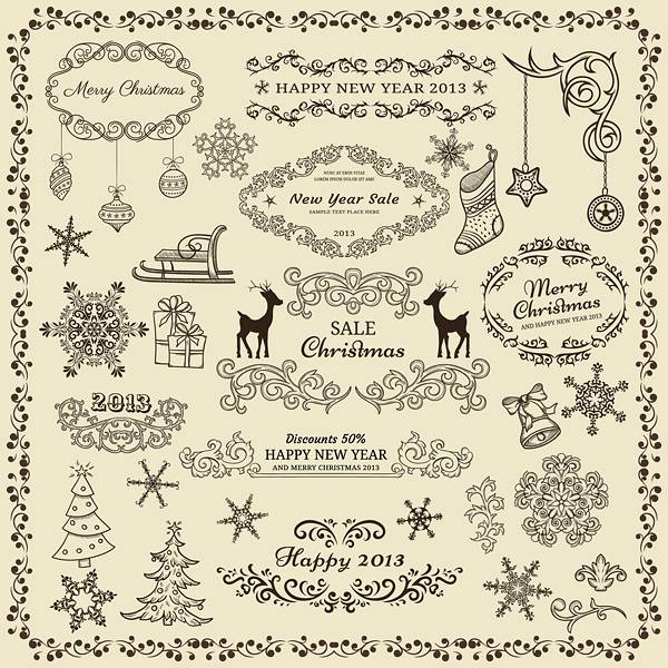 Various Christmas decor elements vector set 01