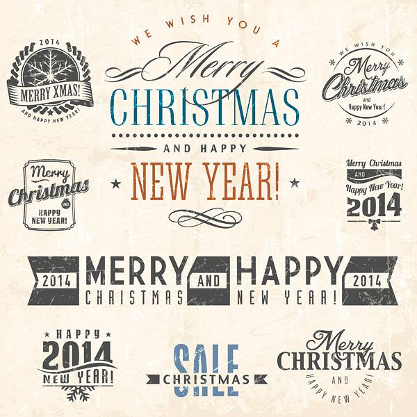 Vintage Xmas Stickers Vector