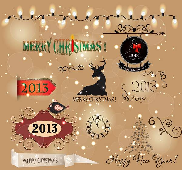 Various Christmas decor elements vector set 04