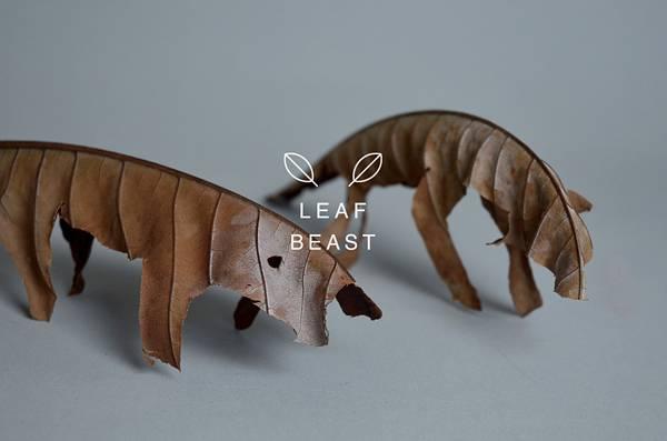 乾燥して丸まった形を活かしたアート作品「葉獣」 - 01