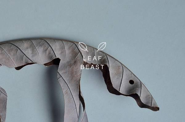 乾燥して丸まった形を活かしたアート作品「葉獣」 - 03