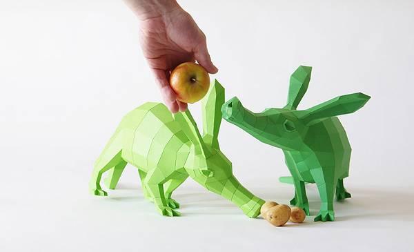 動物たちのローポリゴン風ペーパークラフトアート - 02