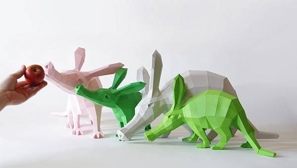 動物たちのローポリゴン風ペーパークラフトアート - 09