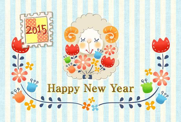 羊のキャラクターと花の綺麗な年賀状イラスト