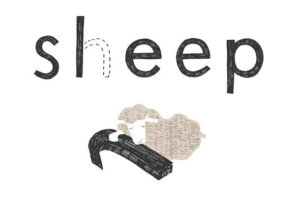 年賀状2015 No.17: Sheep, Sleep /W