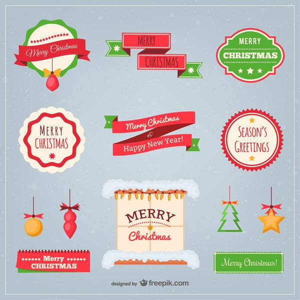 Flat Christmas elements pack