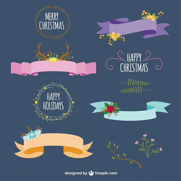 Minimalist Christmas ribbons and greetings