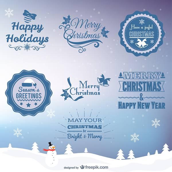 Retro Christmas greeting badges