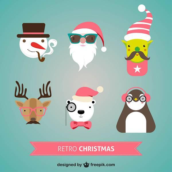 Retro Christmas characters