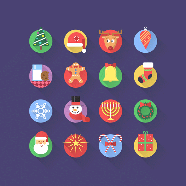 16 Fresh Flat Christmas Icons