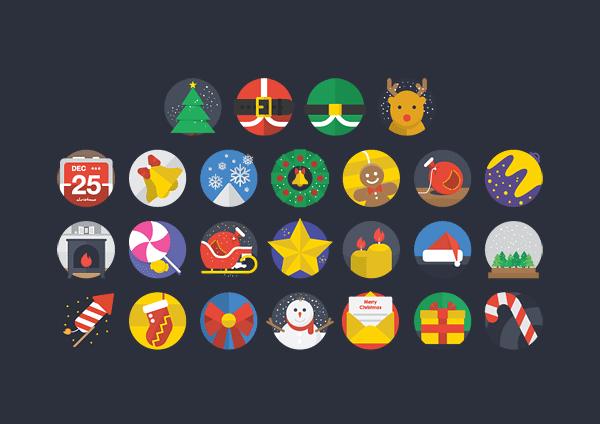 25 Christmas Flat Icons