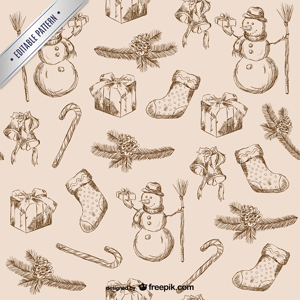 Christmas scribbles pattern