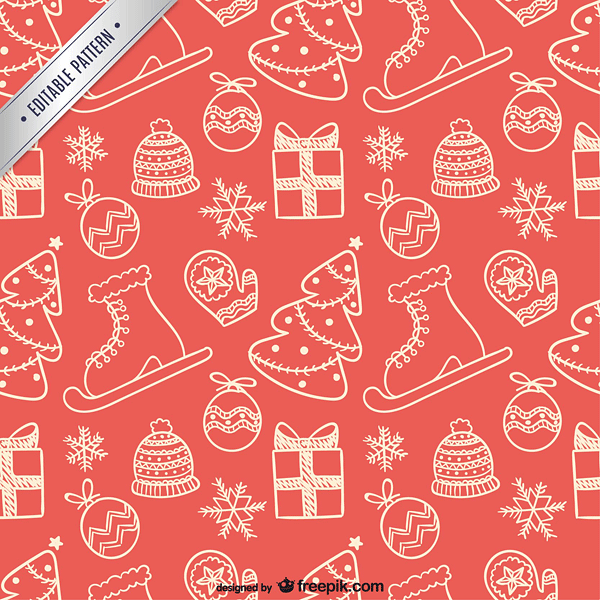Editable Christmas pattern free vector