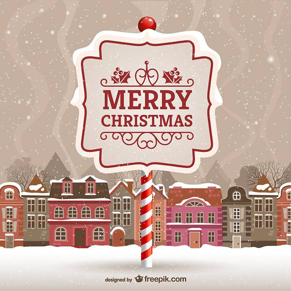 Merry Christmas card with urban landscape