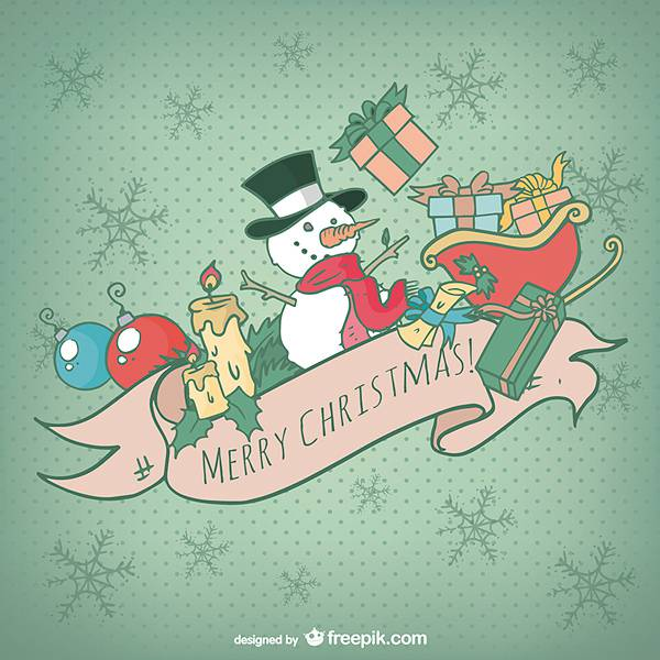 Christmas card with colorful cartoons