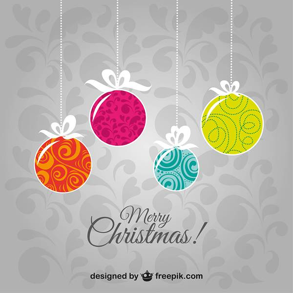 Merry Christmas vintage background with balls