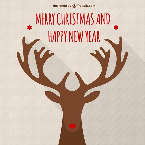 Merry Christmas vector with elk