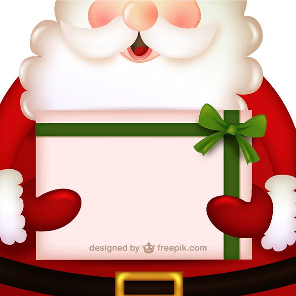 Santa Claus cartoon with present
