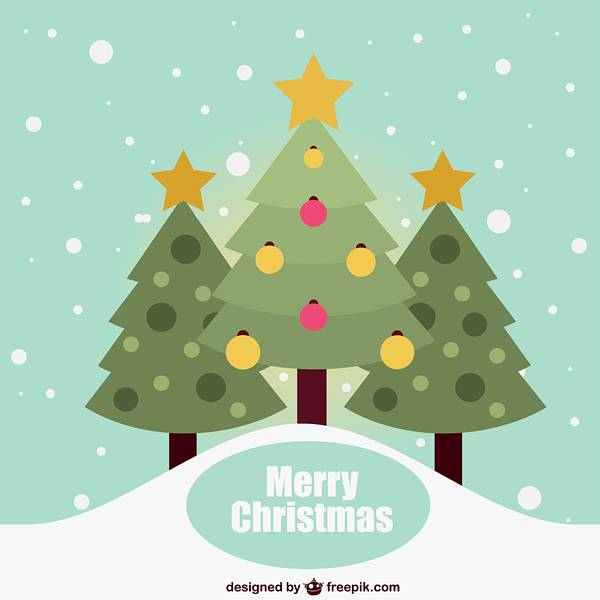 Flat Christmas card with trees