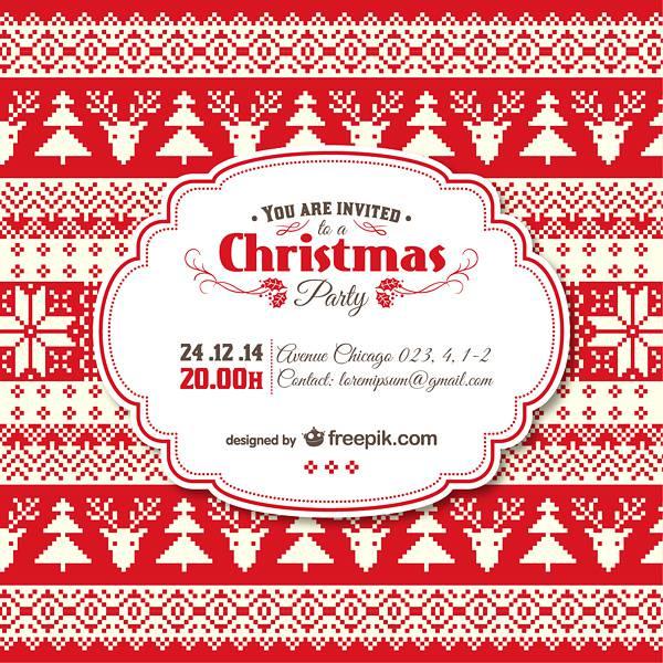 Vintage Christmas invitation template