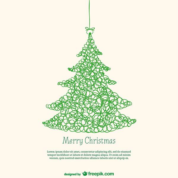 Card template with Christmas tree