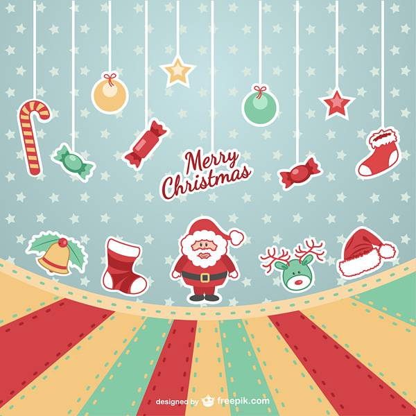 Merry Christmas vintage vector