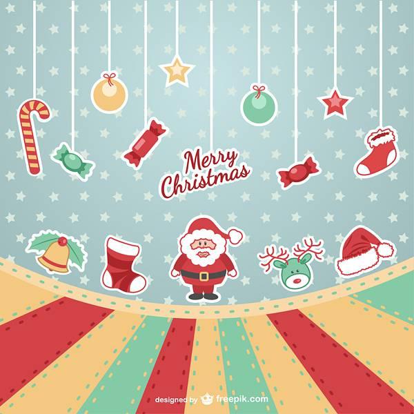 Merry Christmas vintage vector