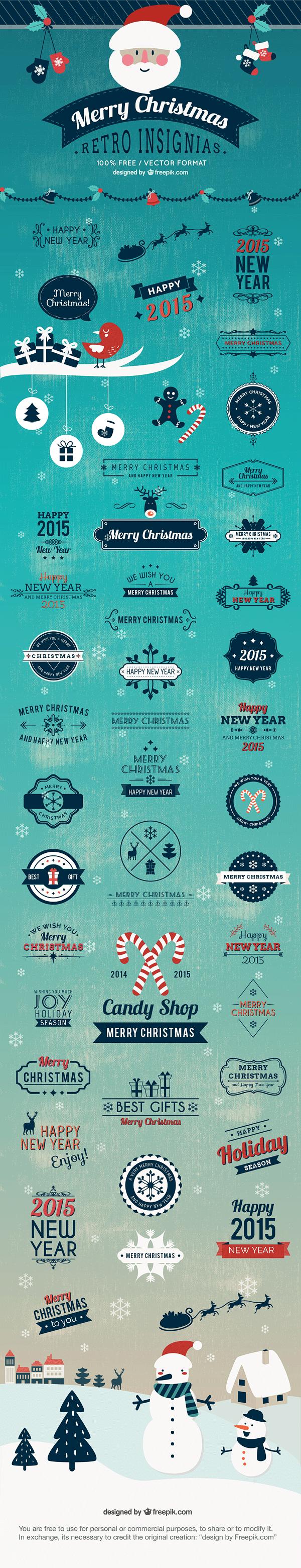 40+ Retro Christmas Insignias and Badges