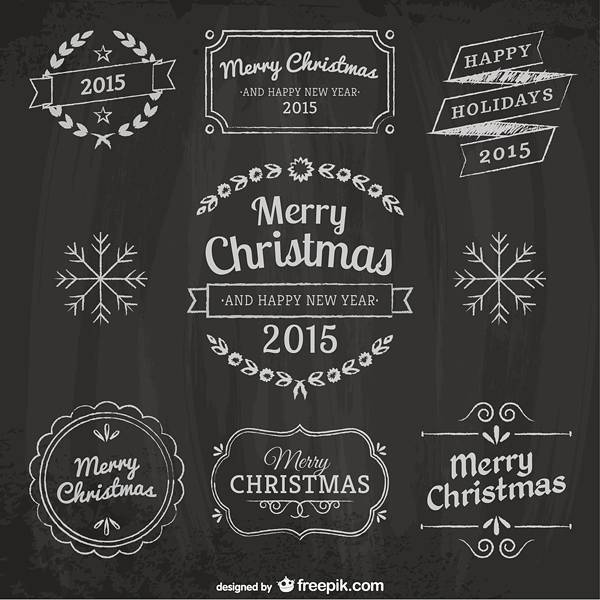 Christmas design elements with blackboard texture Vector