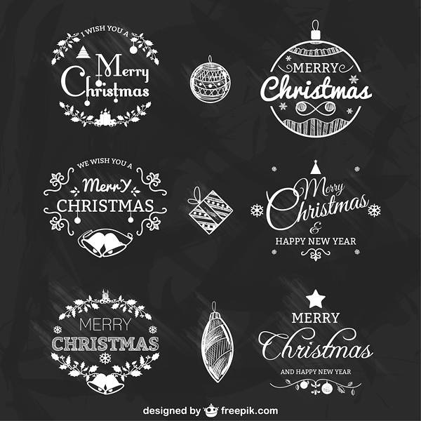 Black and white Christmas badges pack Vector