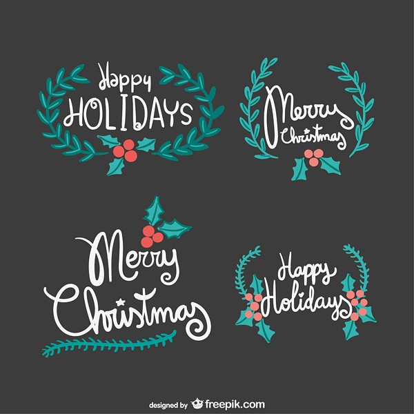 Vintage merry Christmas lettering Vector