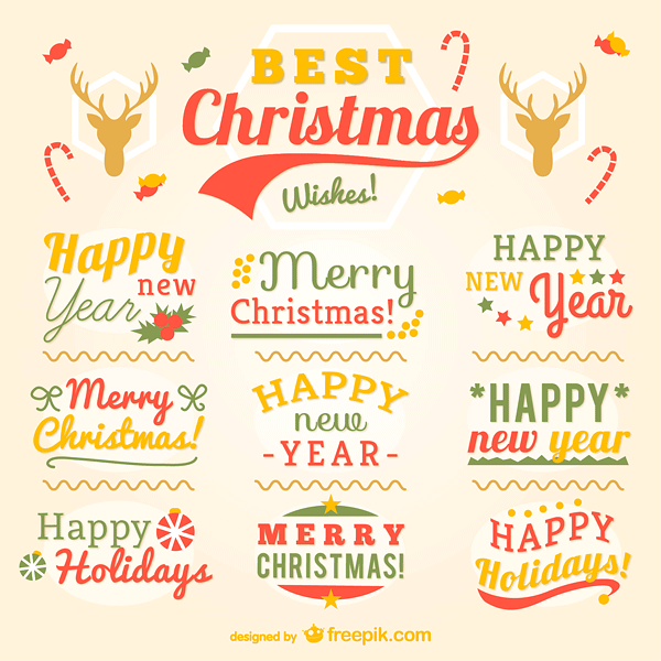 Vintage Christmas labels Vector