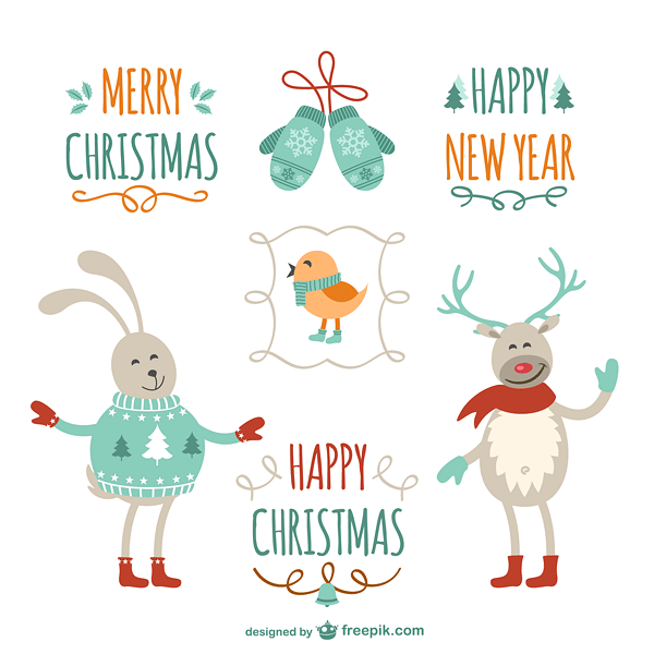 Vintage Christmas greetings with cartoons Vector