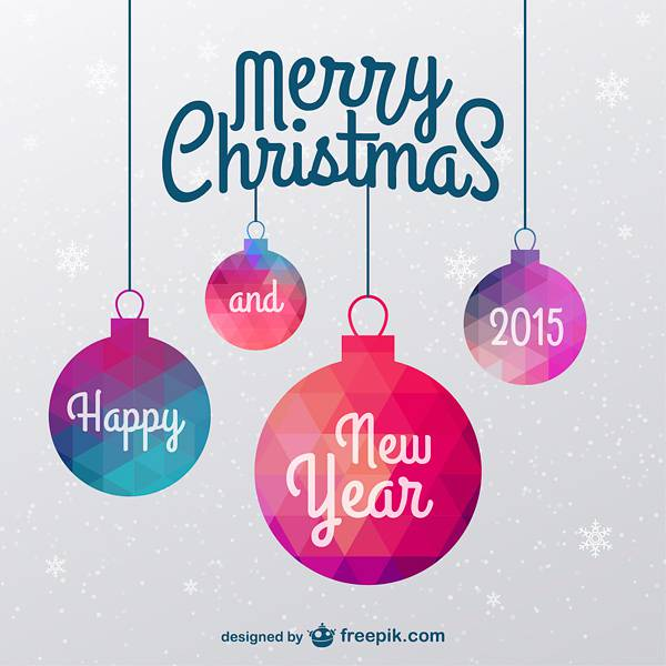 Christmas card with polygonal ornaments