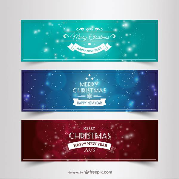 Vintage Christmas and New Year banners