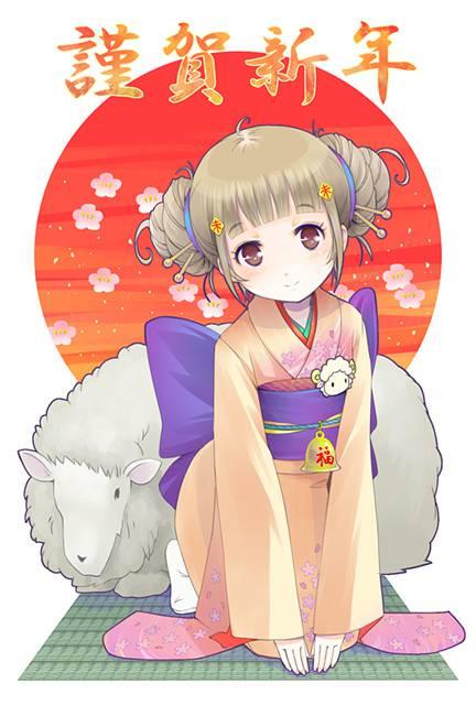 羊と女の子の可愛すぎる年賀状テンプレート無料配布中! - 01