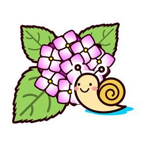 カタツムリと紫陽花 (6月:梅雨)の無料イラスト