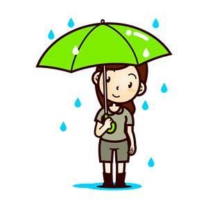 傘を差した人たち(6月:梅雨)、無料イラスト