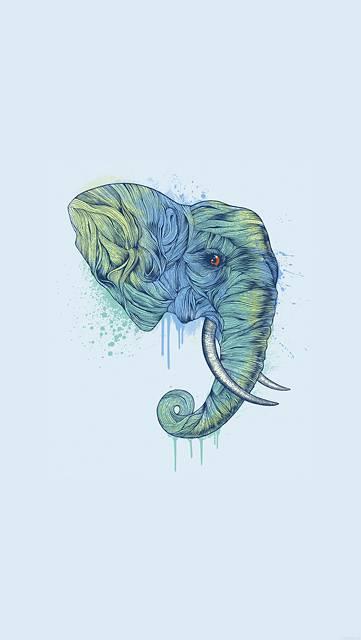 象の横顔のクールなイラスト壁紙