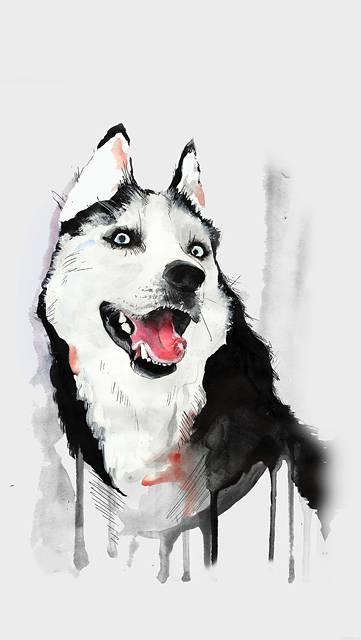 塗料で描いた犬の動物イラスト
