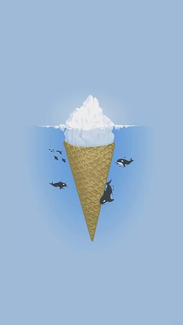 アイスの氷山に集まるシャチのイラスト