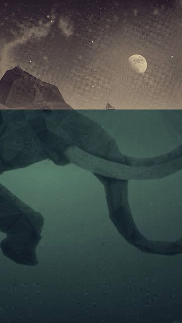 海を泳ぐ象のお洒落なイラスト壁紙