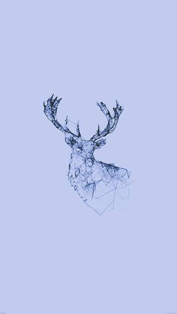 鹿を線だけでデザインイラスト壁紙