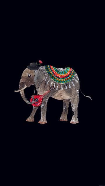 おしゃれな象の動物イラスト