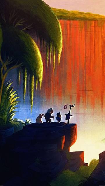夕日を見つめるおじいさんと子供と動物