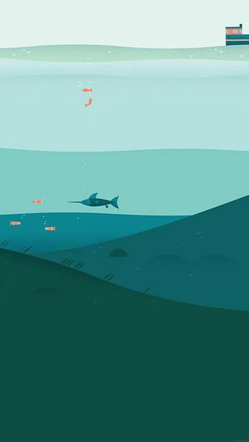海の魚たちのシンプルイラスト